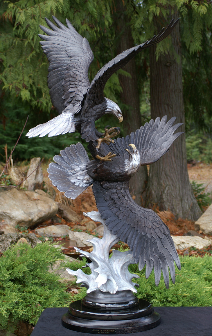 Wings Of Courtship Bronze Bald Eagle Sculpture By Mike
