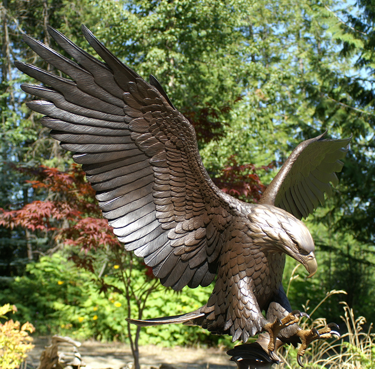 Tribute Eagle Statue With Traditional Bronze Patina By Mike Curtis